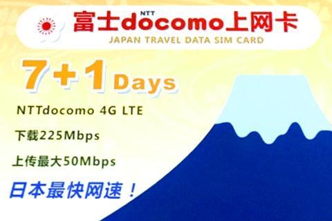 日本【上网卡】docomo无限流量8天